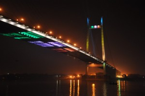 Photo 12: Vidyasagar Setu with colors of National flag